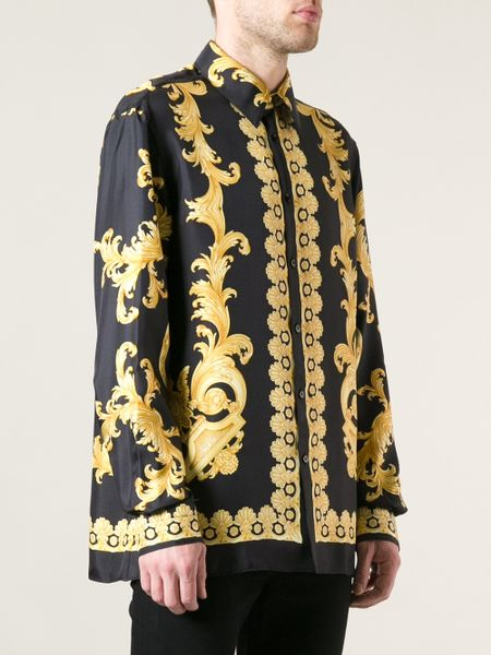 versace baroque print shirt in black for men lyst