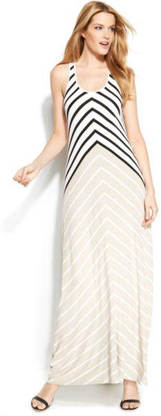 Calvin Klein Sleeveless Striped Maxi Dress In Black White