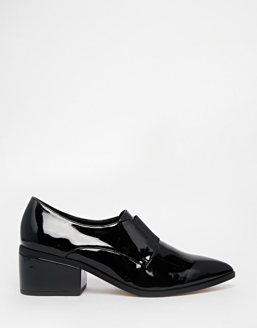 5166946879f6 Lyst - ASOS Socially Pointed Loafer Heels in Black