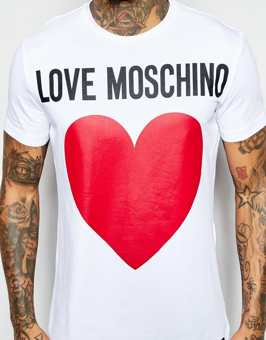 1ed083ab Love Moschino T-shirt With Heart Logo Print in Red for Men - Lyst