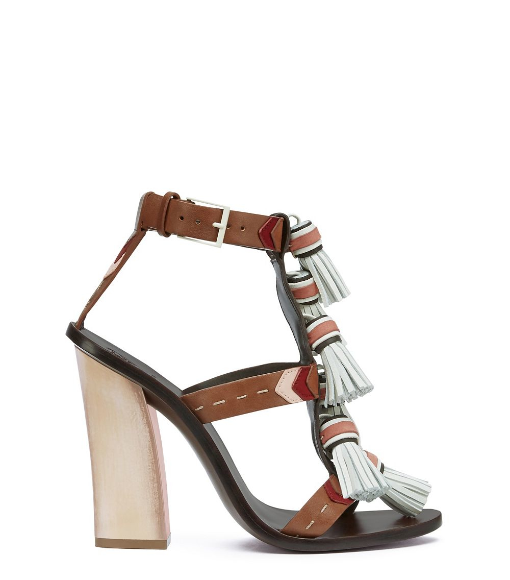 100fce0ff3ba Lyst - Tory Burch Weaver Tassel Sandal in Brown
