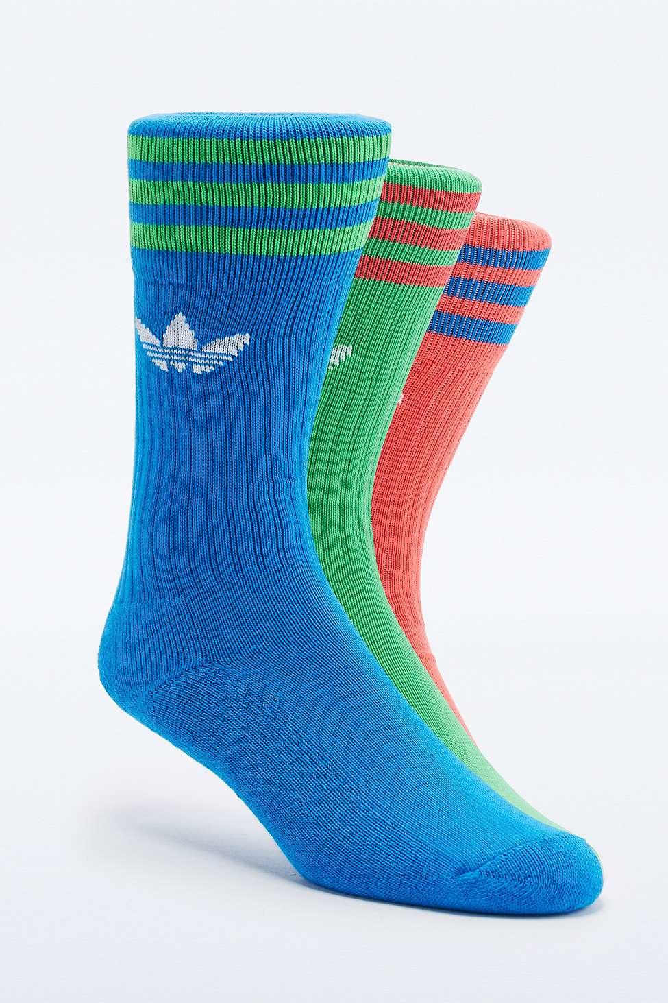Adidas Originals Blue Crew Sock Three Pack In Blue Lyst