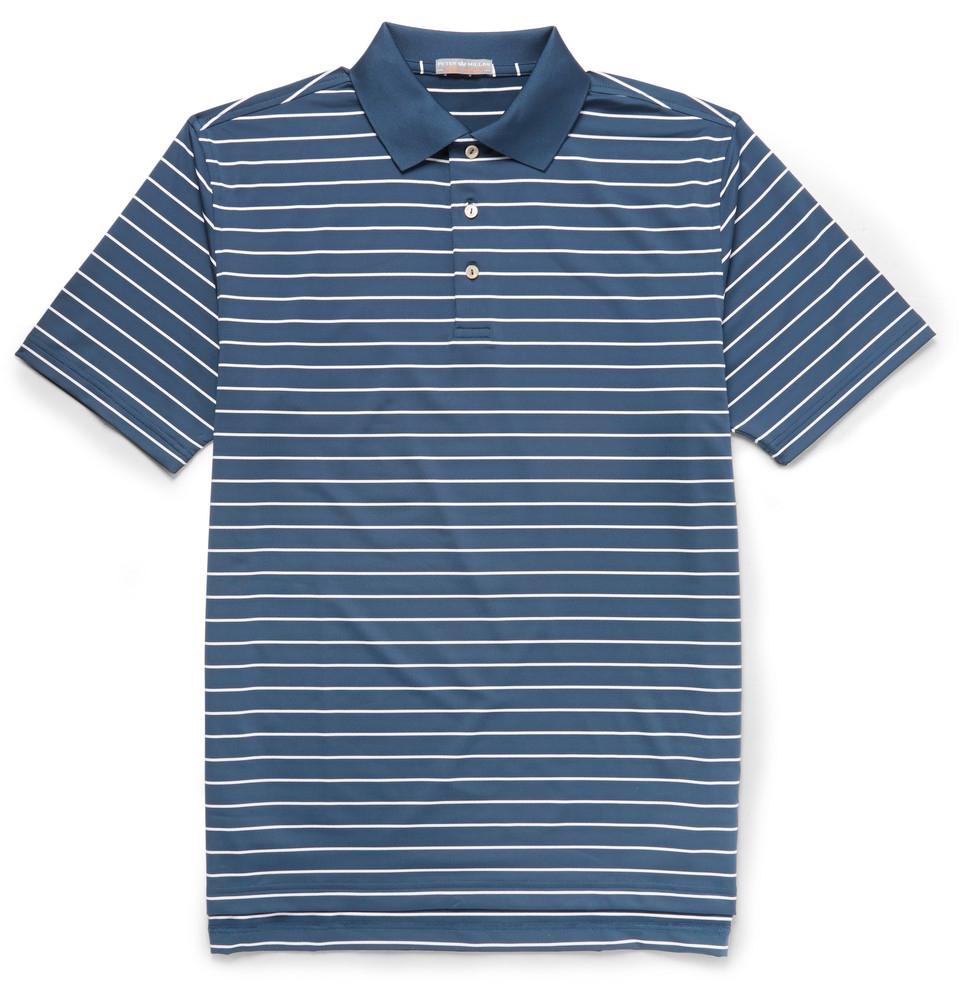 Peter Millar Quarter Striped Jersey Golf Polo Shirt In