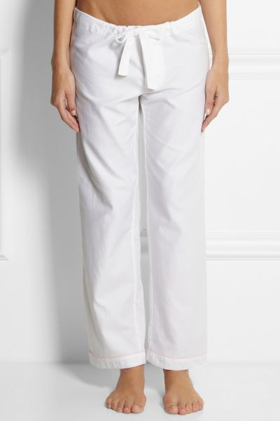 Bodas Cottontwill Pajama Pants In White Lyst