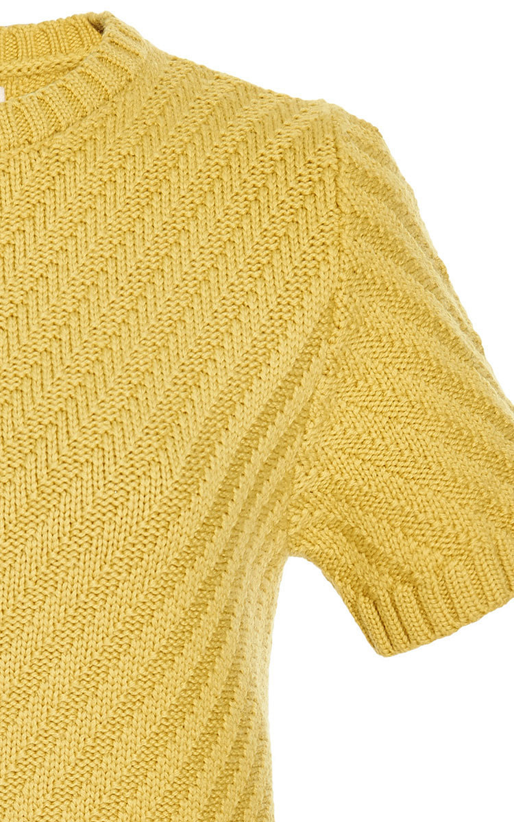 Marni Short Sleeve Crew Neck Sweater in Yellow | Lyst