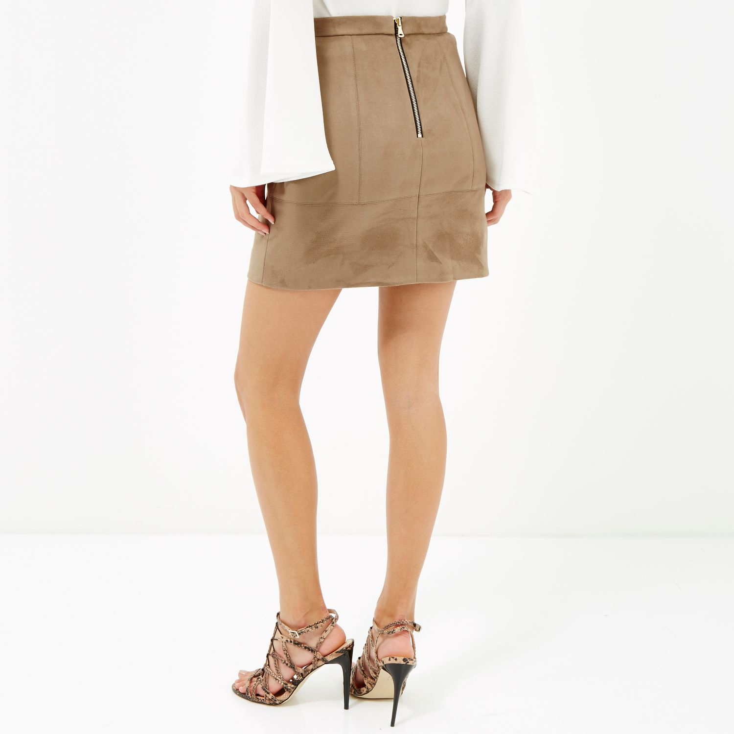 River island Light Brown Faux-suede A-line Skirt in Brown | Lyst
