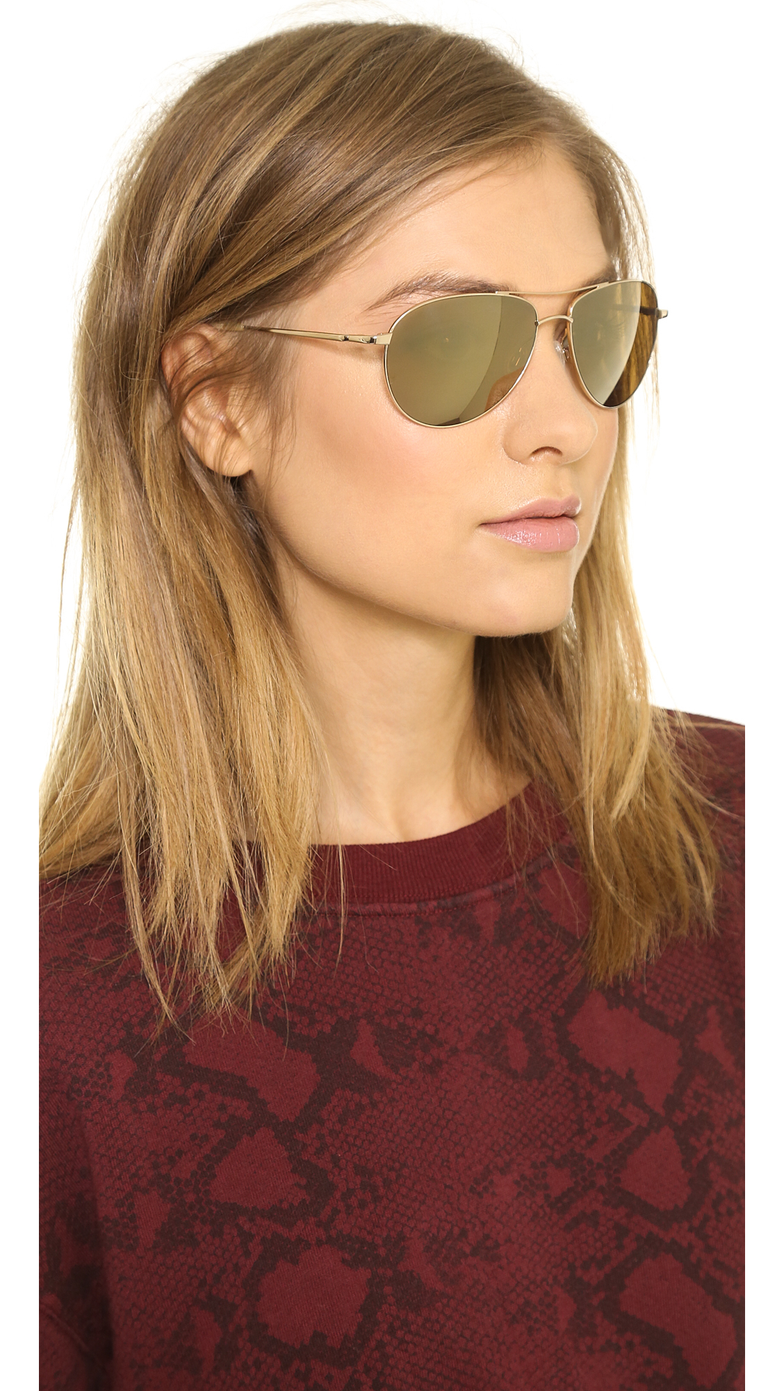 Oliver Peoples Benedict Mirrored Sunglasses Gold Gold