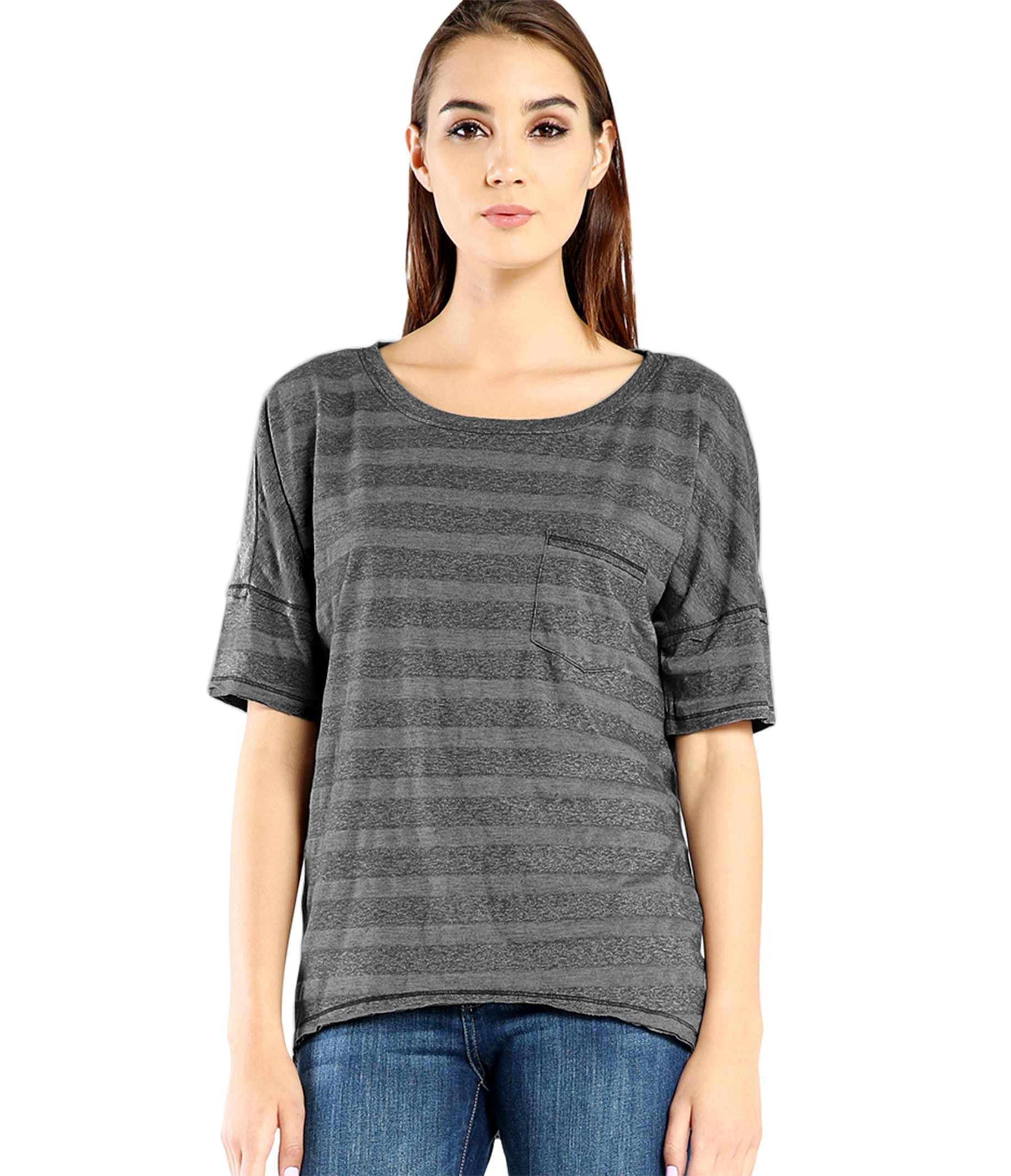 Michael stars relaxed stripe tee with front pocket in gray for Michael stars tee shirts
