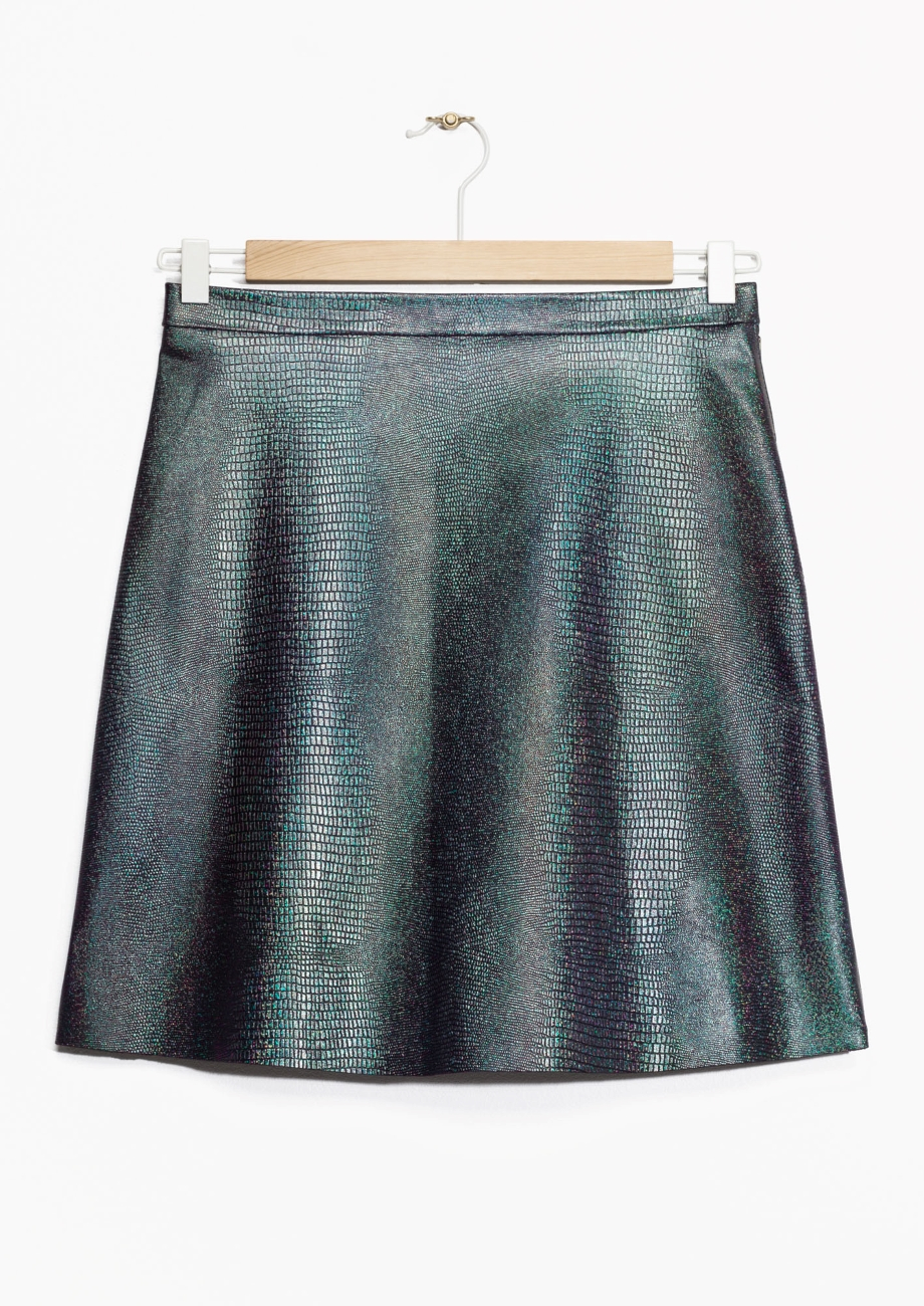 other stories iridscent embossed leather skirt in blue