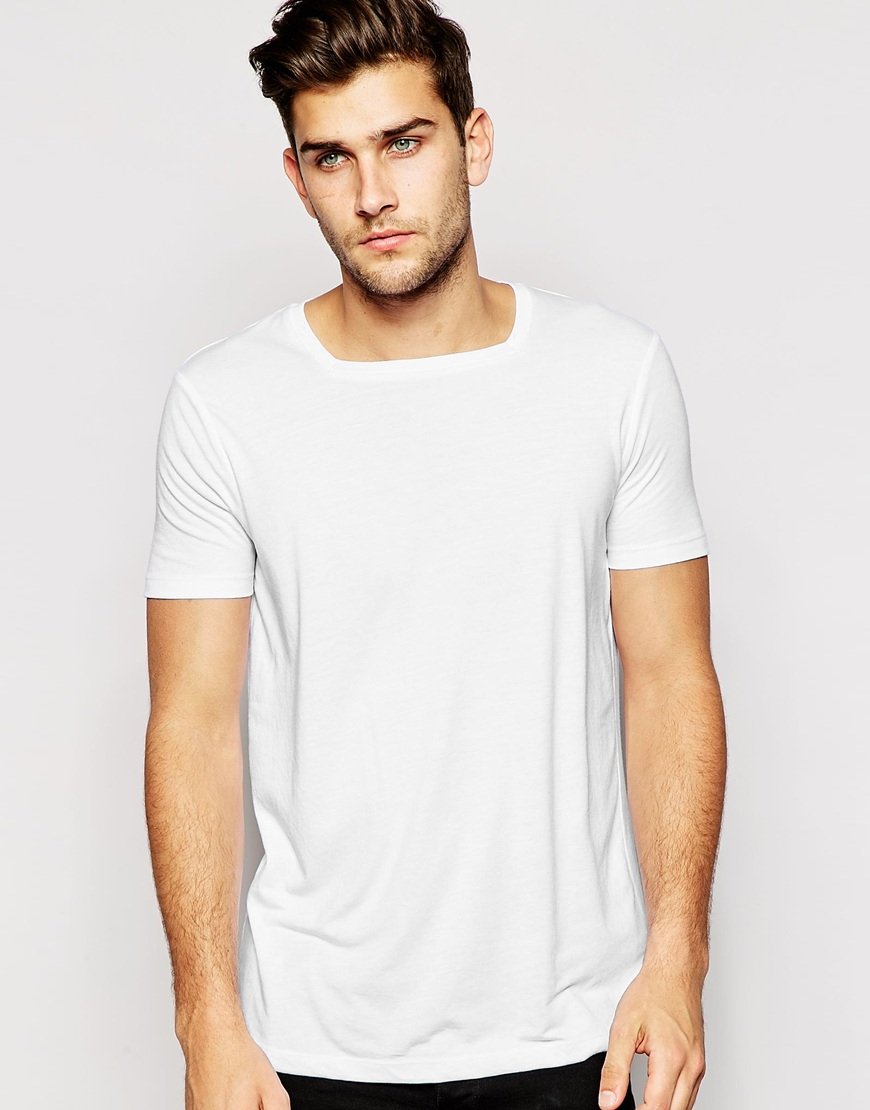 lyst asos t shirt with square neck in white for men