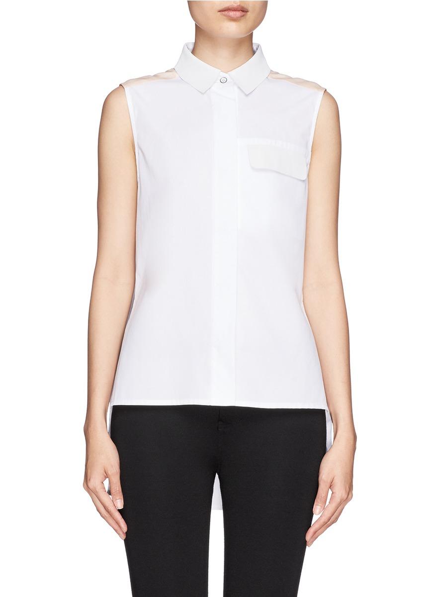 Rag Bone Woodward Leather Collar Sleeveless Shirt In