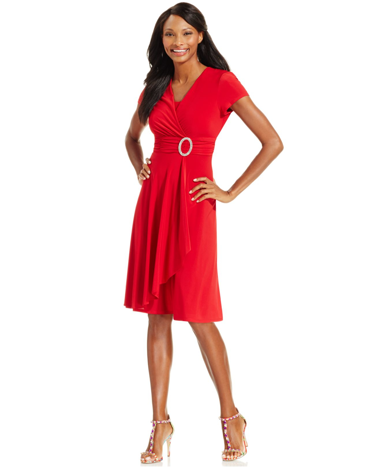 R &amp- m richards R&amp-m Richards Short-sleeve Faux-wrap Dress in Red - Lyst