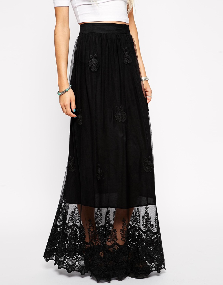 asos embroidered maxi skirt in lace in black lyst