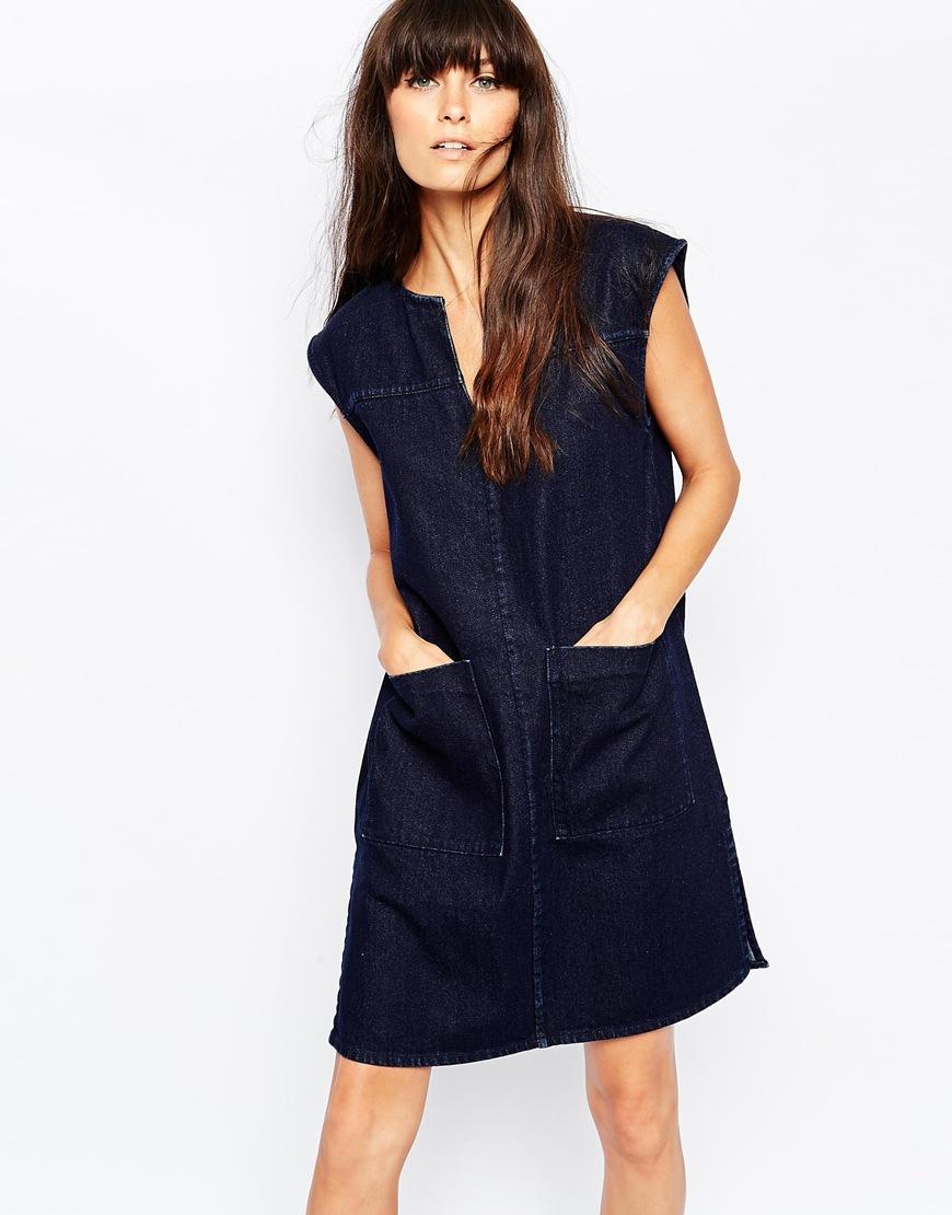 Sleeveless Denim Shirt Dress