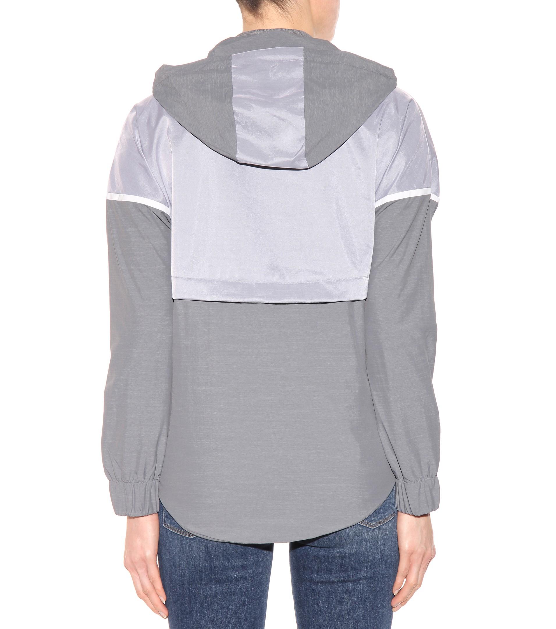 Nike Bonded Zip Front Windbreaker Jacket In Gray Lyst ccfd5e77e