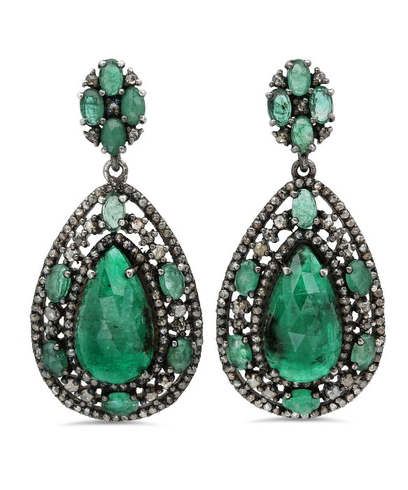 bavna jewelry bavna sterling silver emerald earrings in green lyst 8403