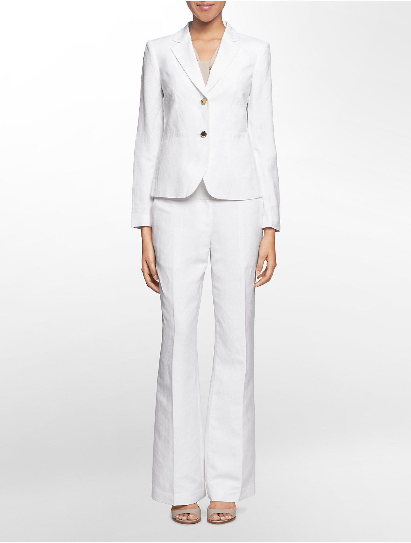 Lyst Calvin Klein White Label Two Button Linen Suit Jacket In White