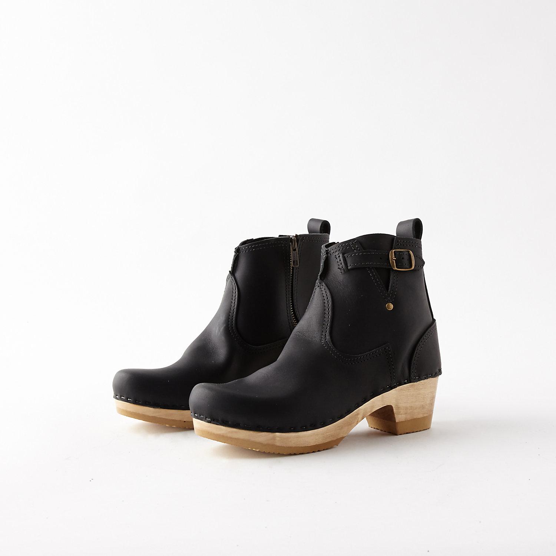 no 6 mid heel buckle boot in black lyst