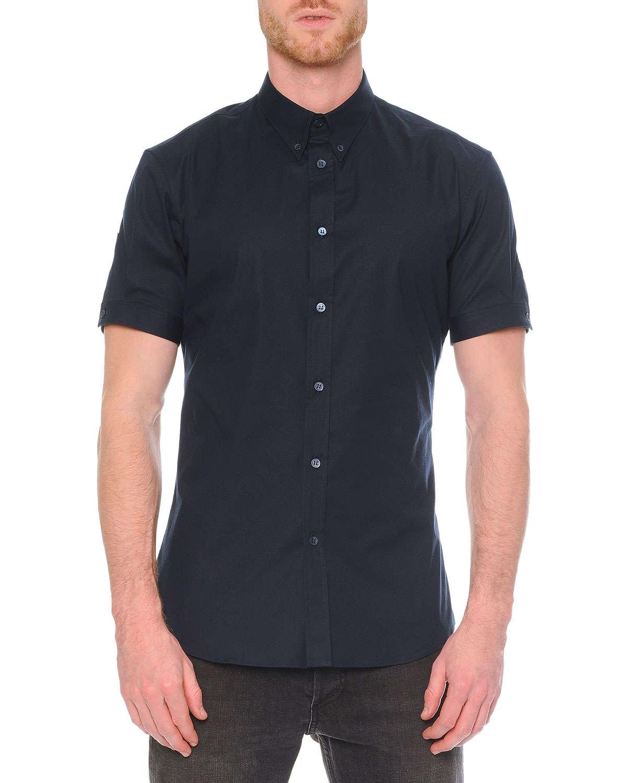 Alexander mcqueen short sleeve button down shirt in blue for Boys short sleeve button down shirt