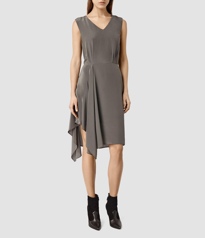 8618c3d4efe Lyst - AllSaints Vista Dress in Gray