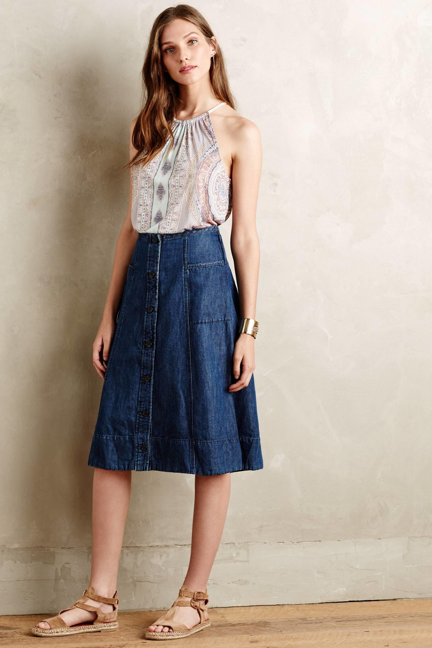 Dark Denim Midi Skirt