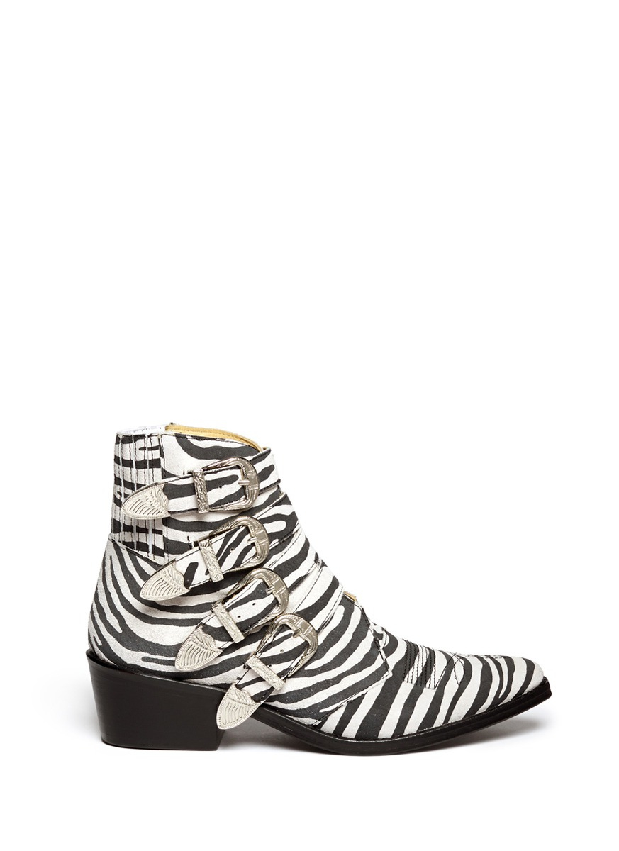 Toga Archives Buckle Zebra Print Suede Cowboy Boots In