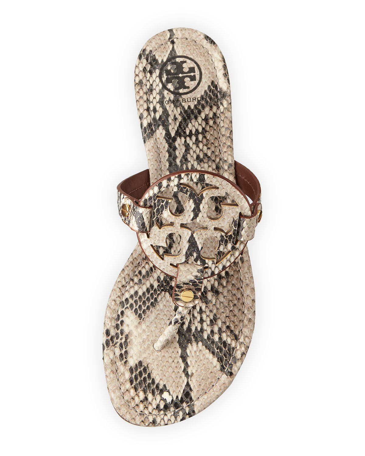 6a59bdf05ae40 Lyst - Tory Burch Miller Lizardprint Leather Thong Sandals in Natural