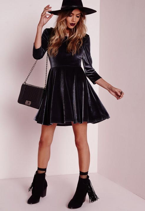 Lyst - Missguided 3 4 Sleeve Velvet Skater Dress Shadow Grey in Black f2ad16f55a6e