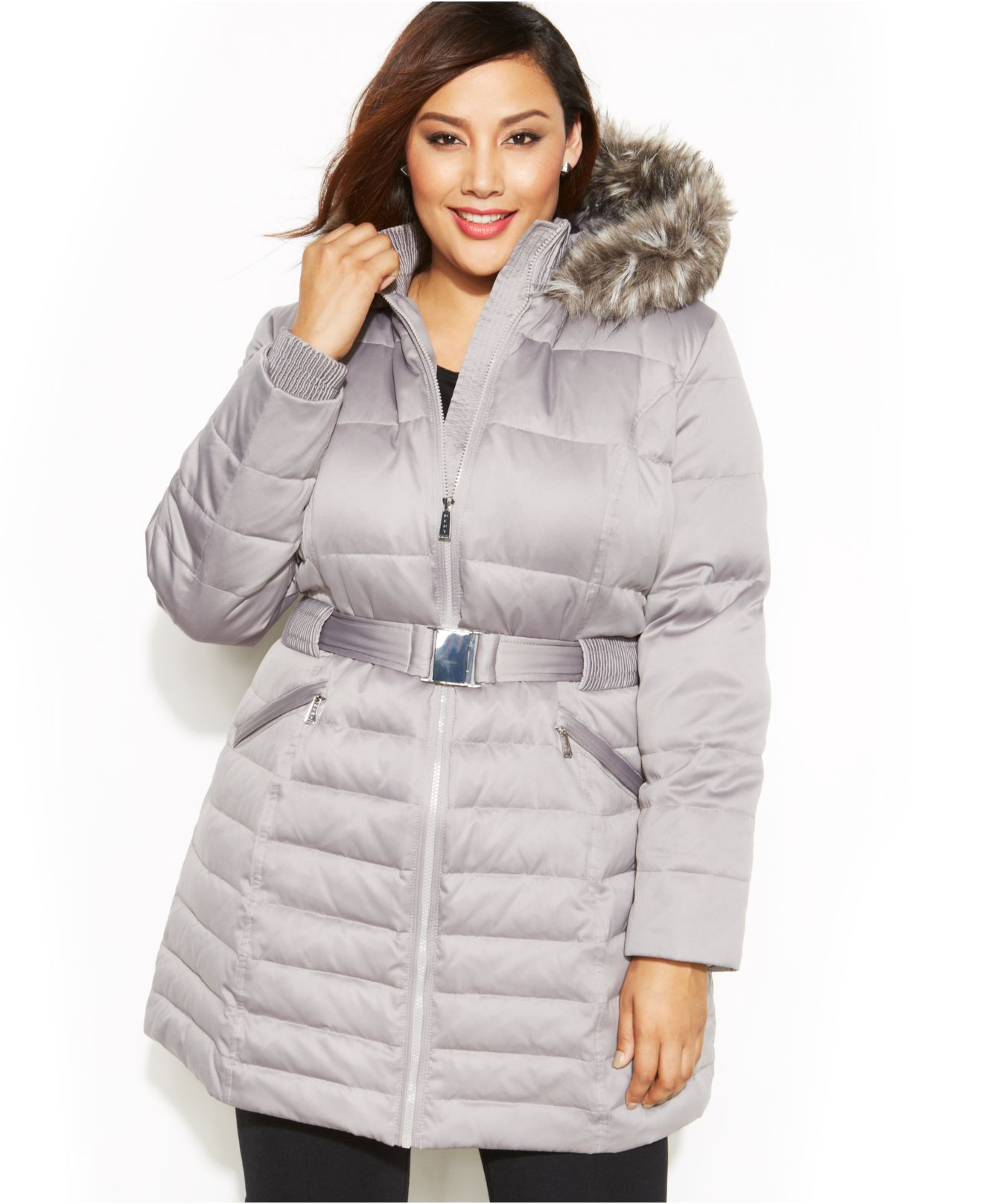 753c38c2285 Lyst - DKNY Plus Size Faux-Fur Hooded Belted Down Coat in Metallic