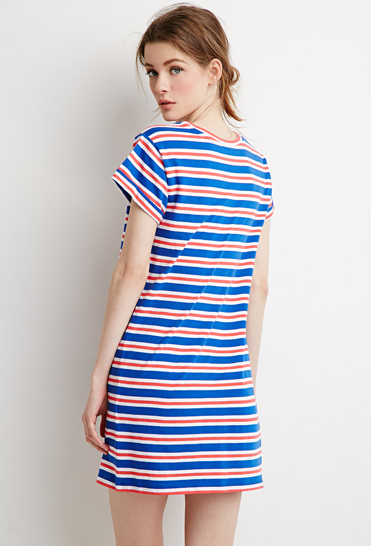 70c00c89df5e Lyst - Forever 21 Contemporary Striped T-shirt Dress in Blue