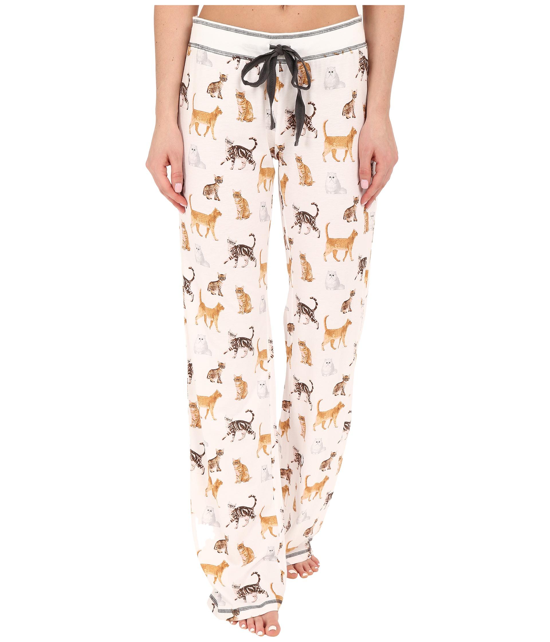 Pj salvage Cat Print Pj Pants in White