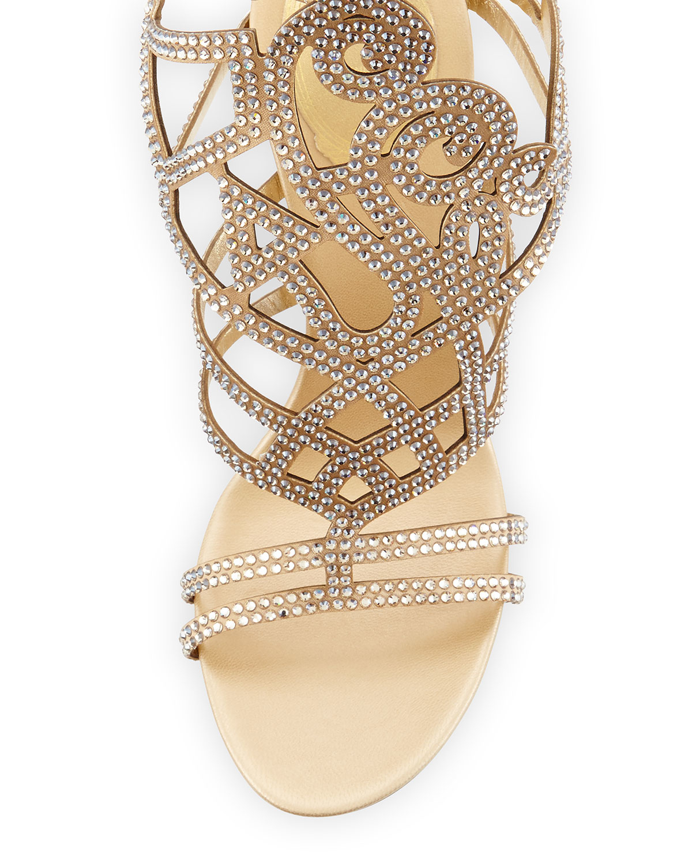 Lyst - Rene Caovilla Scrolling Crystal Gladiator Sandal in Metallic d9f4f1f68c94