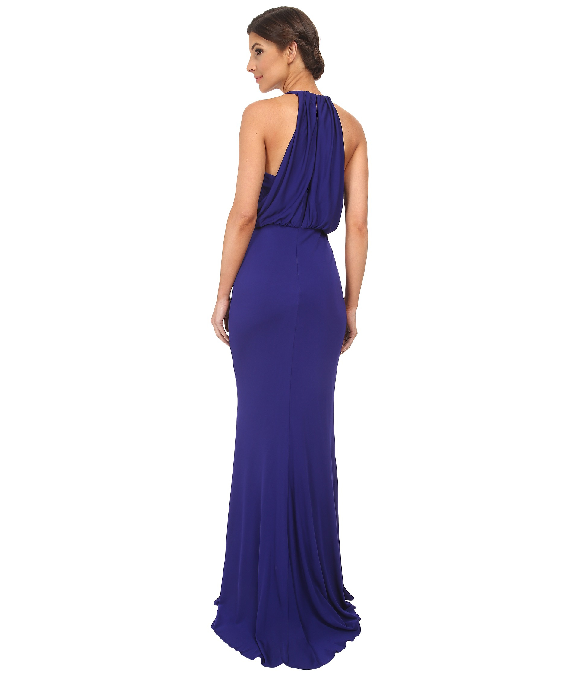 Lyst - Badgley Mischka Matte Jersey Drape Halter Gown in Blue