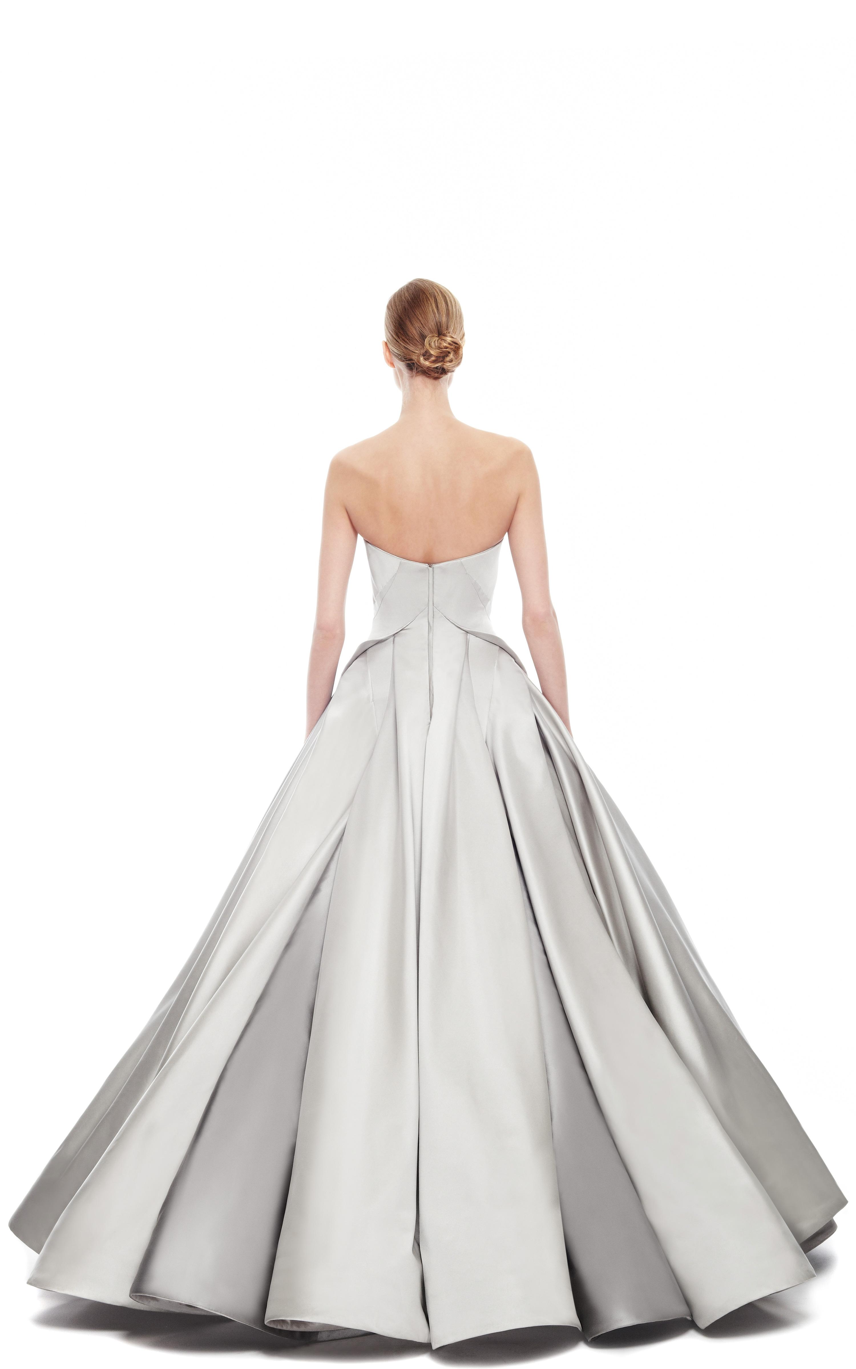 Zac Posen Duchess Satin Strapless Gown In Gray Lyst