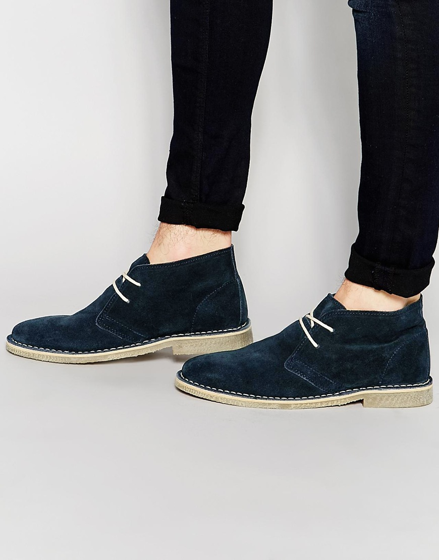 asos desert boots in navy suede in blue for lyst