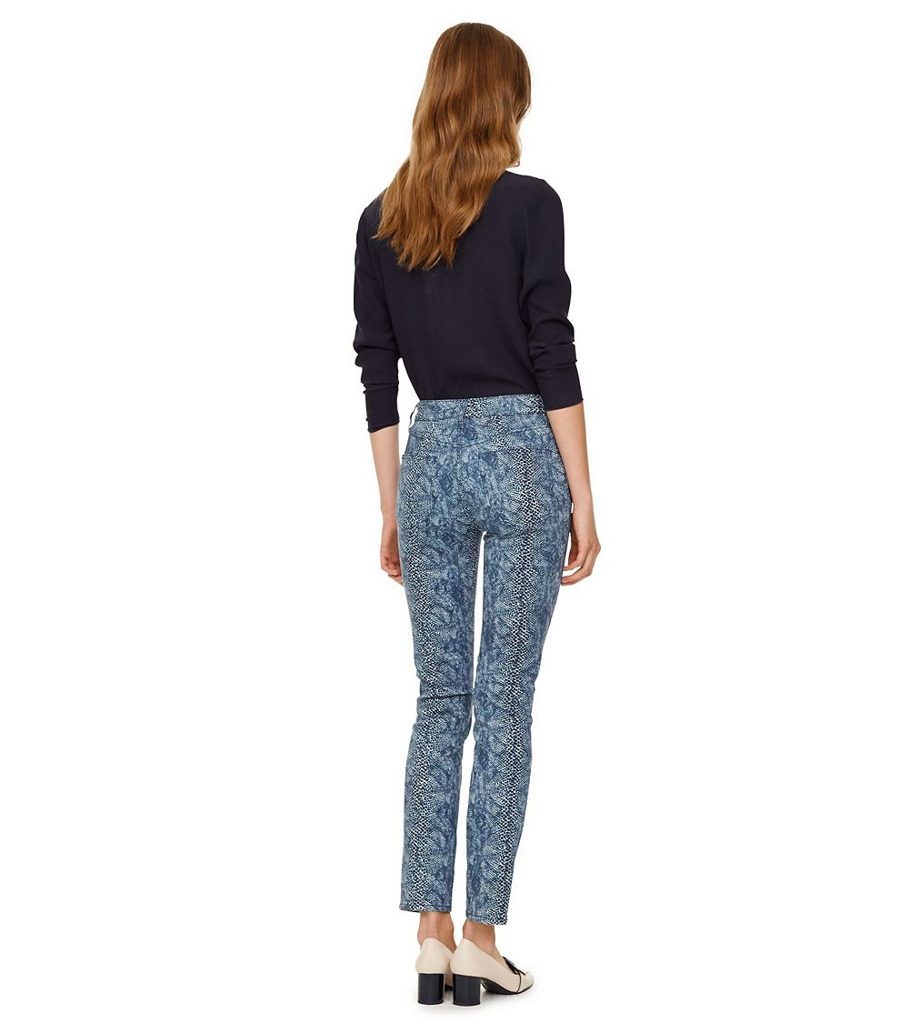 Tory burch Printed High-waisted Skinny Jean in Blue | Lyst