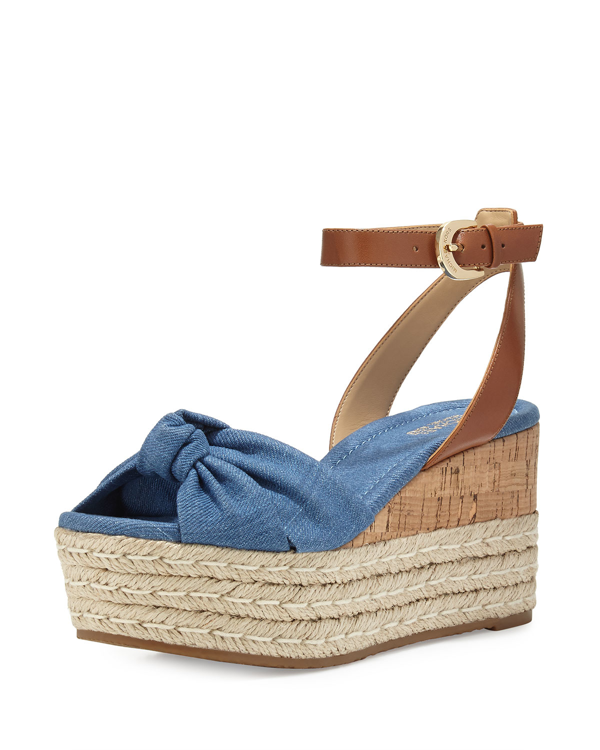 a0af7357b72e Lyst - MICHAEL Michael Kors Maxwell Mid-wedge Sandal in Blue