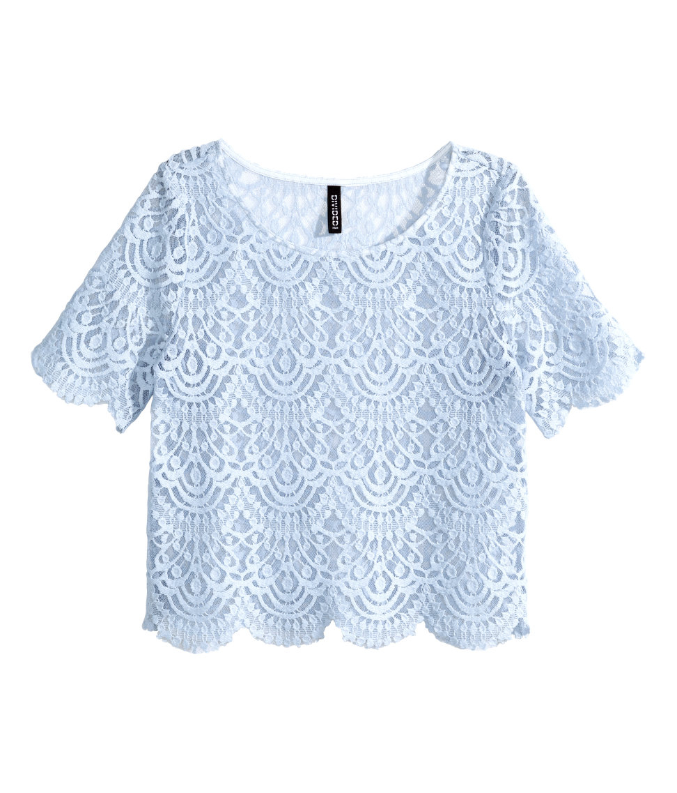 Lyst H Amp M Lace Top In Blue
