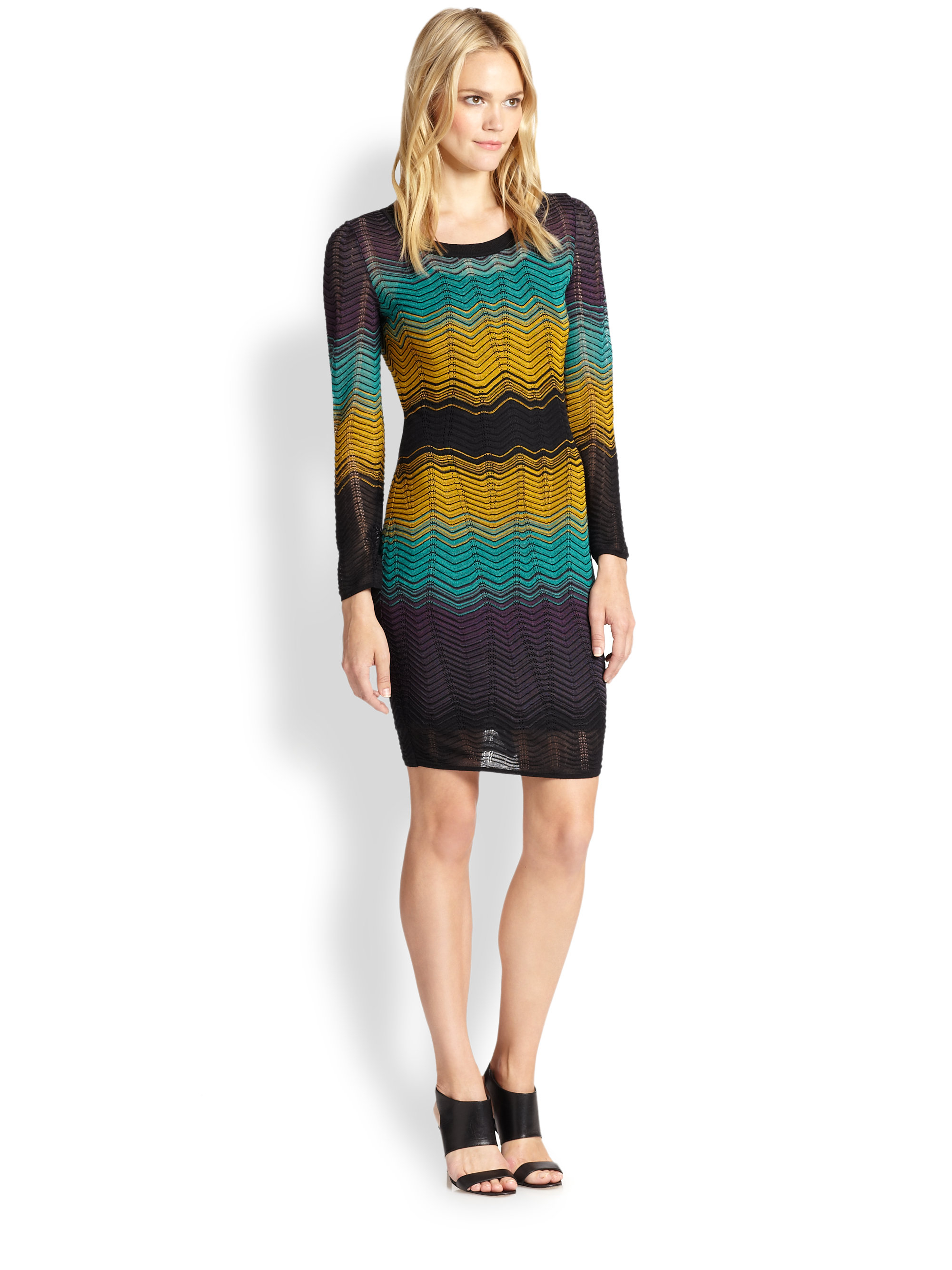 Lyst M Missoni Colorblock Rippleknit Dress In Black