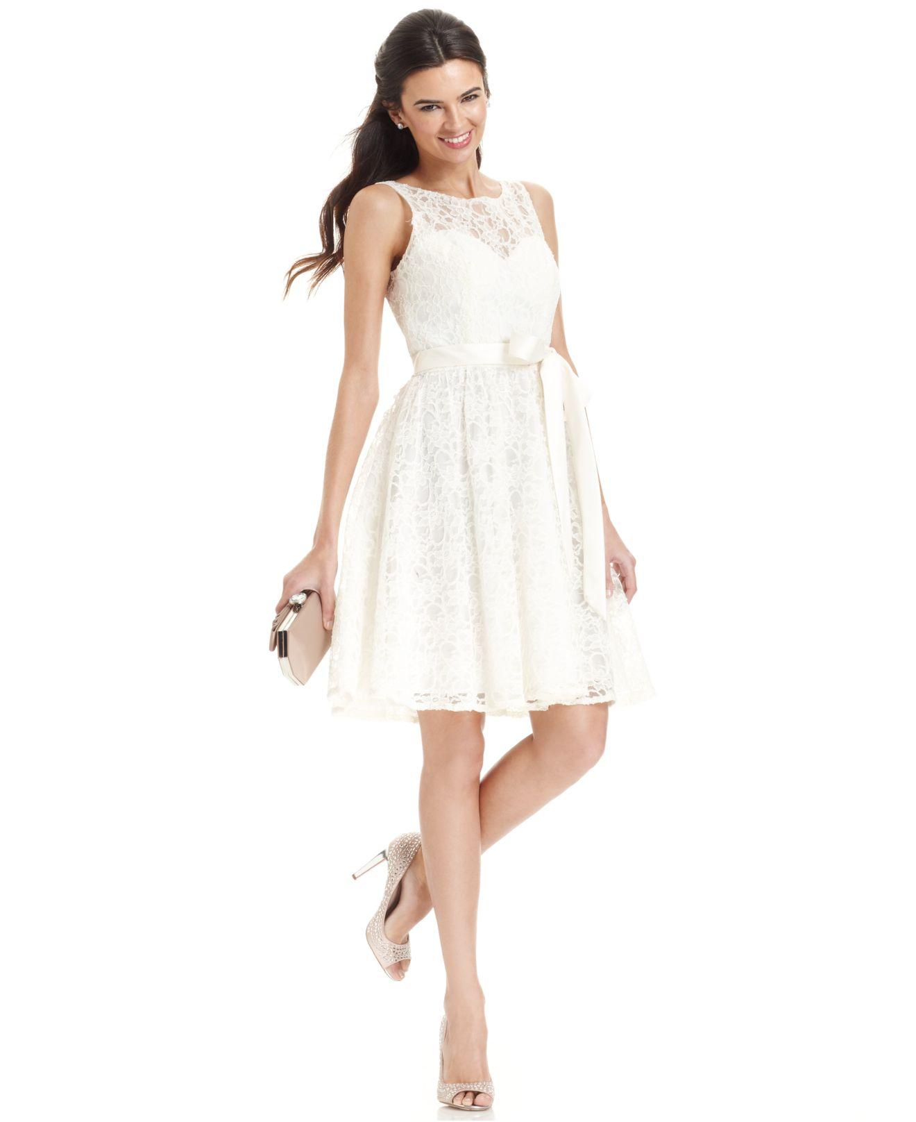 Lyst Marina Sleeveless Illusion Lace Dress In White