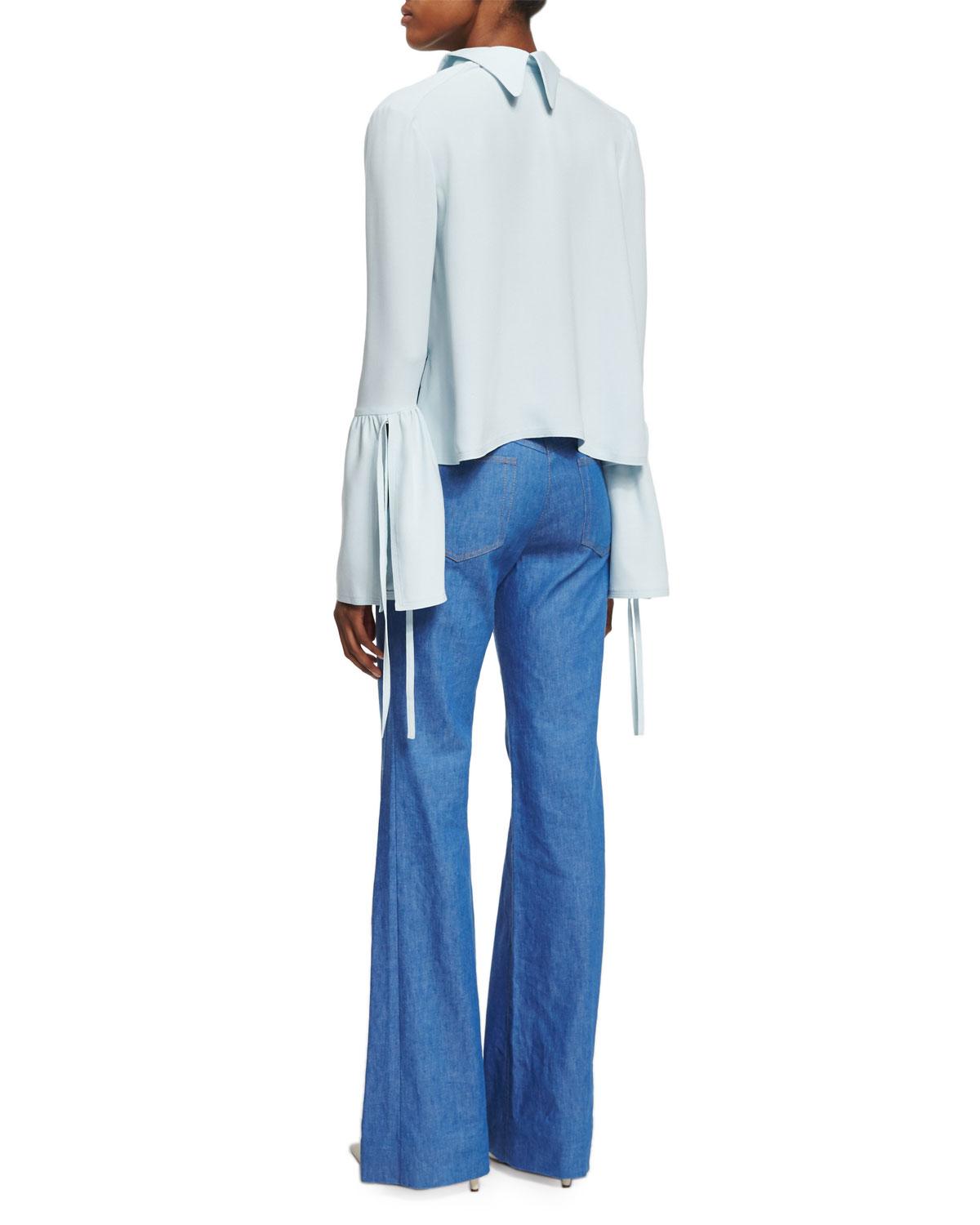 504222f32b56bf Lyst - Derek Lam Silk-crepe Bell-sleeve Top in Blue