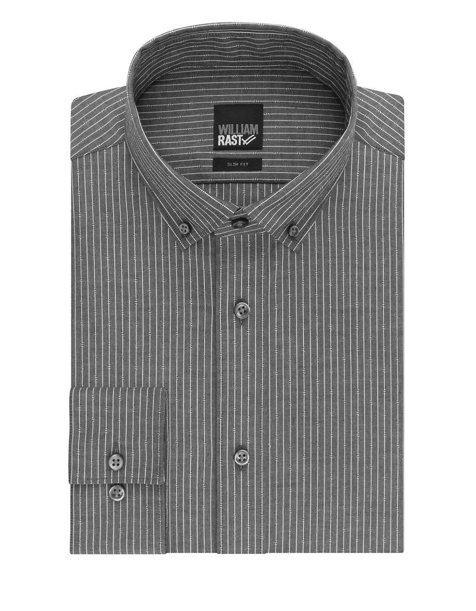 William rast striped button down shirt in gray for men lyst for Striped button down shirts for men