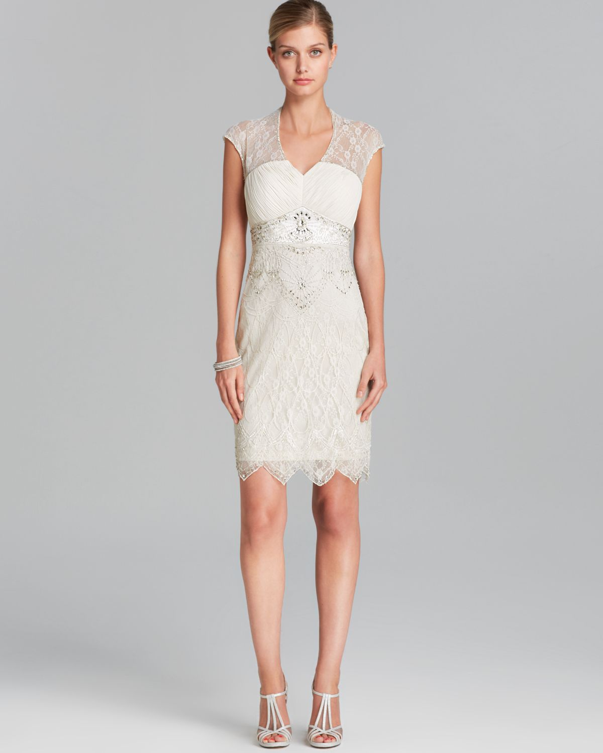 Lyst sue wong dress cap sleeve v neck lace illusion neckline in gallery ombrellifo Image collections