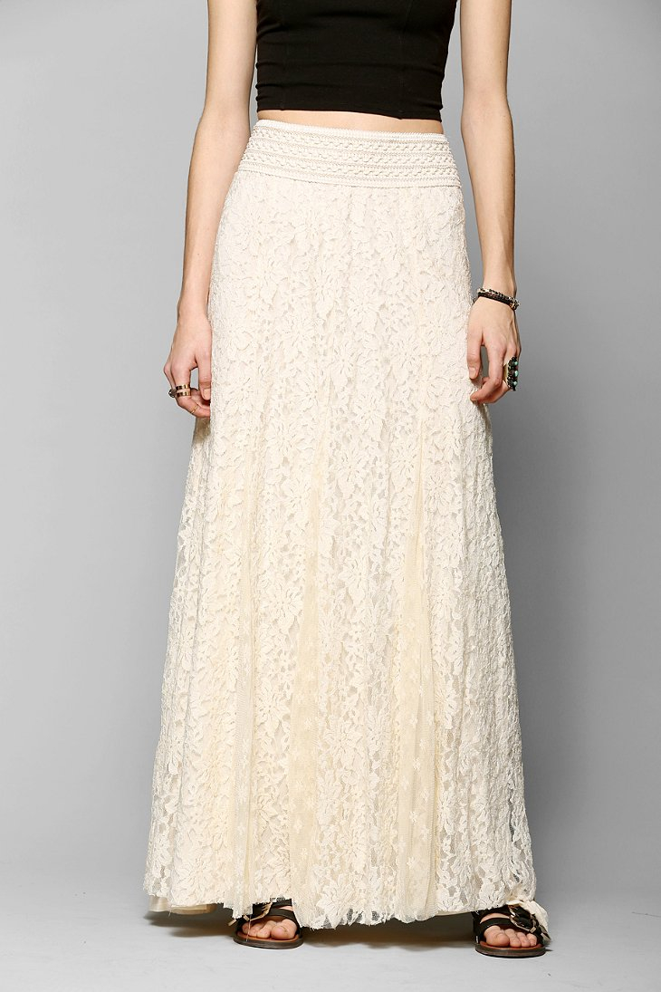 Kimchi blue Margarita Lace Maxi Skirt in Natural | Lyst
