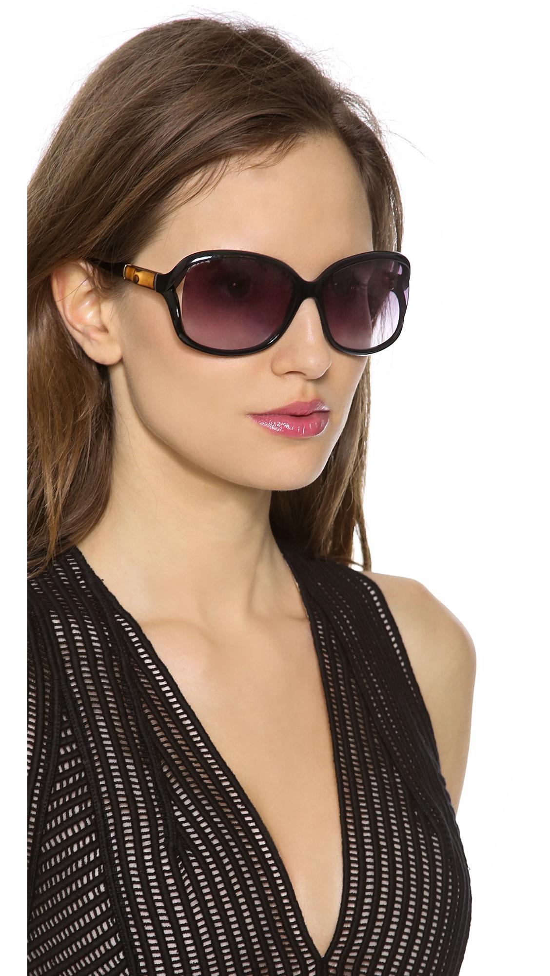 8937d69f97f80 Gucci Open Side Sunglasses - Shiny Black Grey Gradient in Black - Lyst
