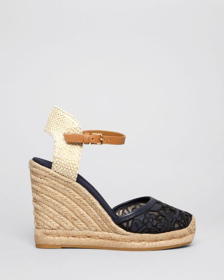 Tory Burch Platform Wedge Espadrille Sandals Lucia Lace
