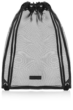 Topshop Mesh Drawstring Bag in Black | Lyst