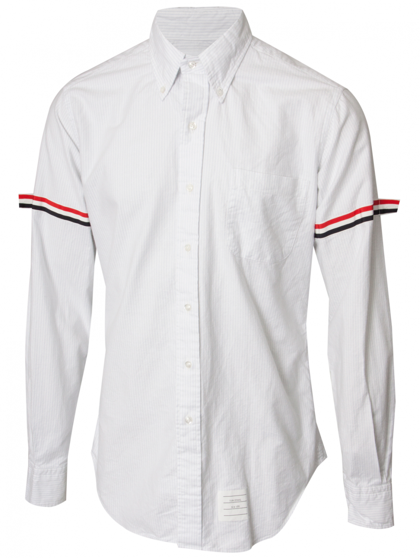 Thom browne pinstripe oxford shirt with arm straps for Thom browne white shirt
