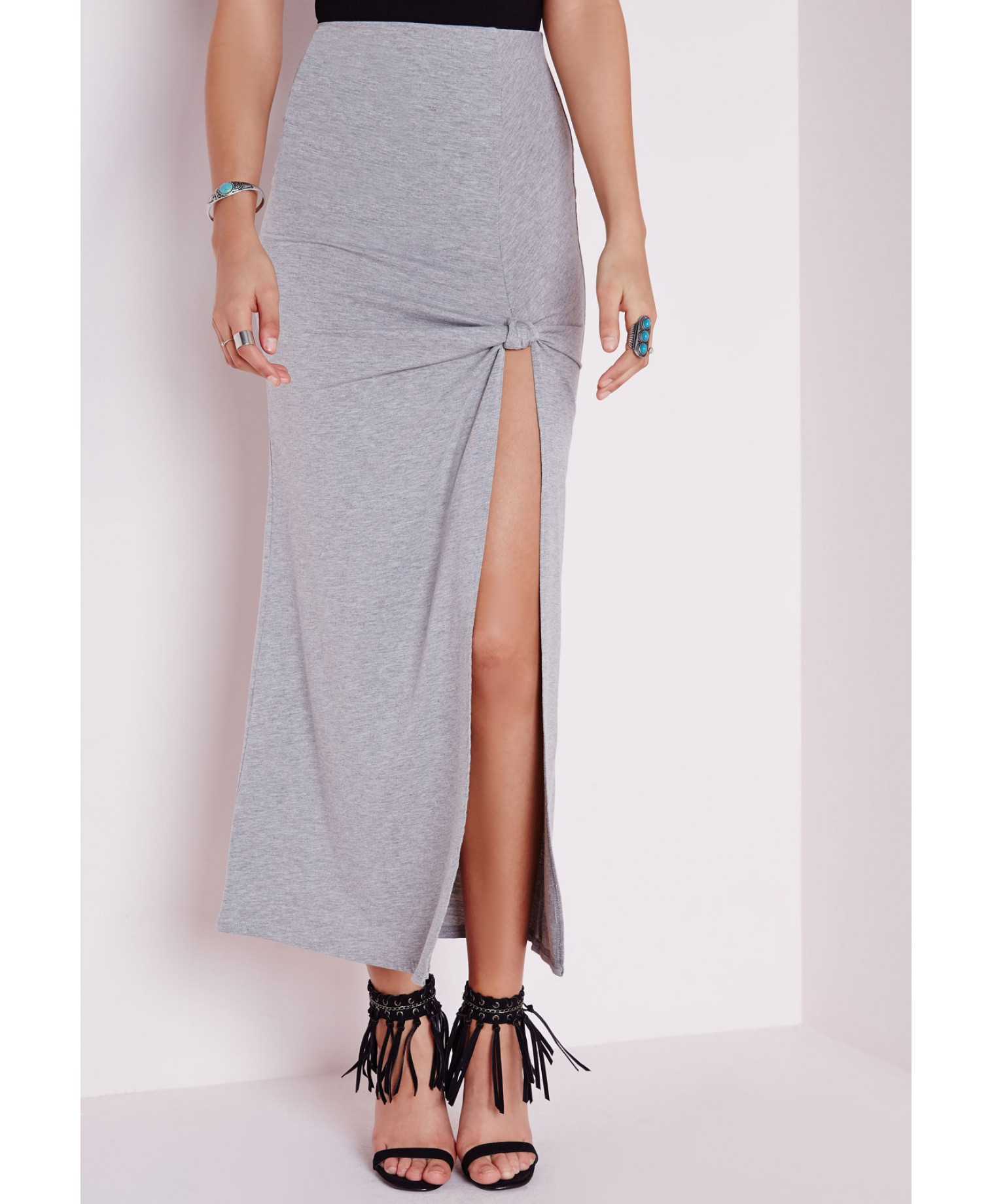 missguided tie knot maxi skirt grey in gray lyst