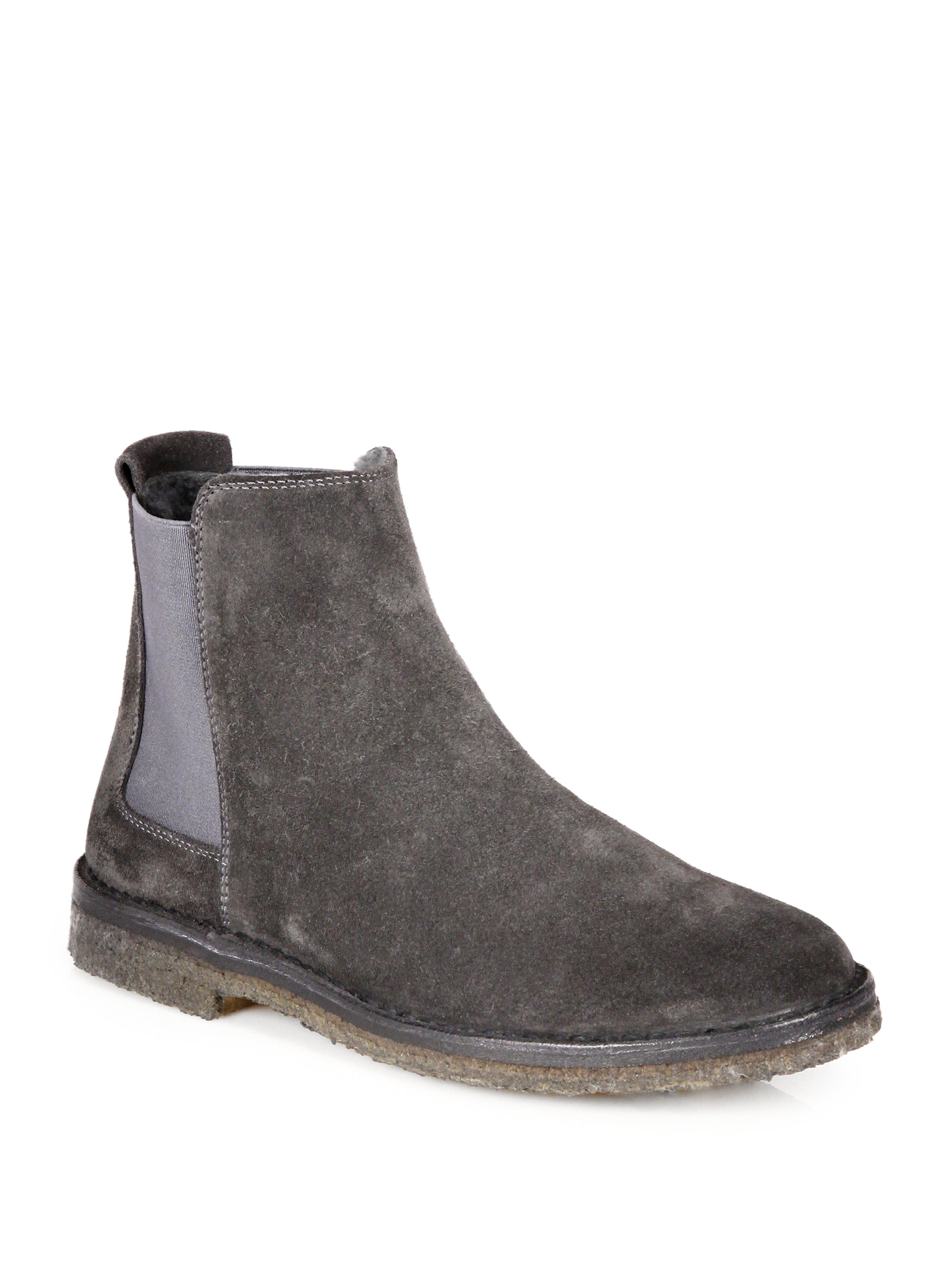 Lyst Vince Cody Suede Shearling Ankle Boots In Gray